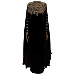 BLACK MODERN ARABIC GEORGETTE KAFTAN DRESS