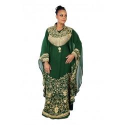 BOTTLE GREEN MOROCCAN ISLAMIC POLYESTER GEORGETTE DRESS