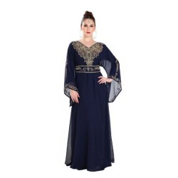 Navy Blue Dubai Moroccan Kaftan Farasha Abaya Maxi Dresses