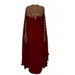 Dubai Islamic Moroccan Arabic Bell Sleeve Floor Length Dress Georgette Abaya