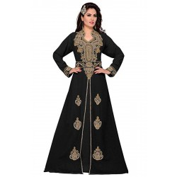 BLACK KAFTAN HAND EMBROIDERY CASUAL POLYESTER DRESS
