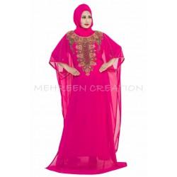 MEHREEN CREATION MOROCCAN PINK GEORGETTE CAFTAN DRESS