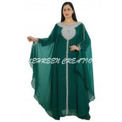 DARK GREEN MODERN BRIDAL ARABIC MAXI ABAYA MOROCCAN ISLAMIC FLOOR LENGTH DRESS
