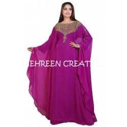 AFRICAN MAXI DUBAI MOROCCAN PURPLE KAFTAN CAFTAN FARASHA PARTY WEAR DRESS
