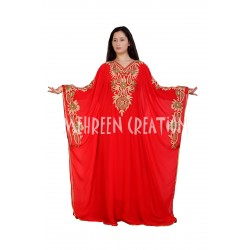 2020 RED COLOR MOROCCAN ISLAMIC KAFTAN DRESS