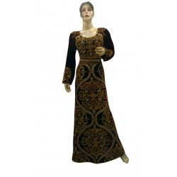 TRY THIS NEW MOROCCAN KAFTAN AFRICAN HAND ZARI EMBROIDERY WEDDING GOWN