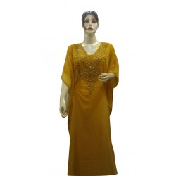 BEIGE MOROCCAN ETHNIC KAFTAN 3/4 SLEEVE FARASHA MODERN BRIDAL ISLAMIC DRESS