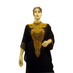 BLACK MODERN BRIDAL ARABIC MAXI ABAYA MOROCCAN ISLAMIC FLOOR LENGTH DRESS