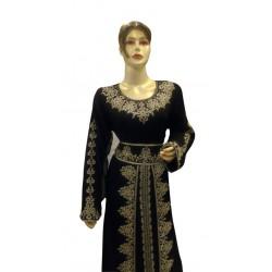 2020 MOROCCAN PARTY WEAR BLACK KAFTAN BELL SLEEVE MODERN DRESS