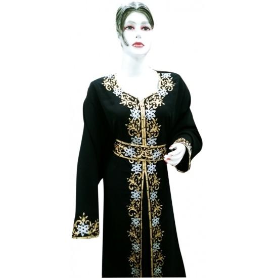2020 BLACK MODERN BRIDAL ARABIC MAXI ABAYA MOROCCAN ISLAMIC FLOOR LENGTH DRESS