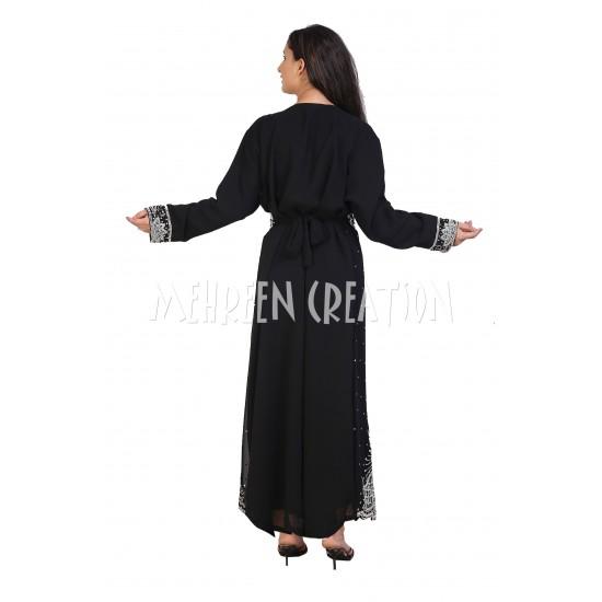 2020 MOROCCAN BLACK KAFTAN FARASHA ZARI WORK DRESS