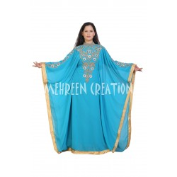 2020 BLUE MOROCCAN ISLAMIC ZARI WORK KAFTAN FULL SLEEVE FARASHA DRESS.