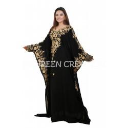BLACK MOROCCAN CAFTAN ISLAMIC FULL SLEEVE JALABIYA DRESS