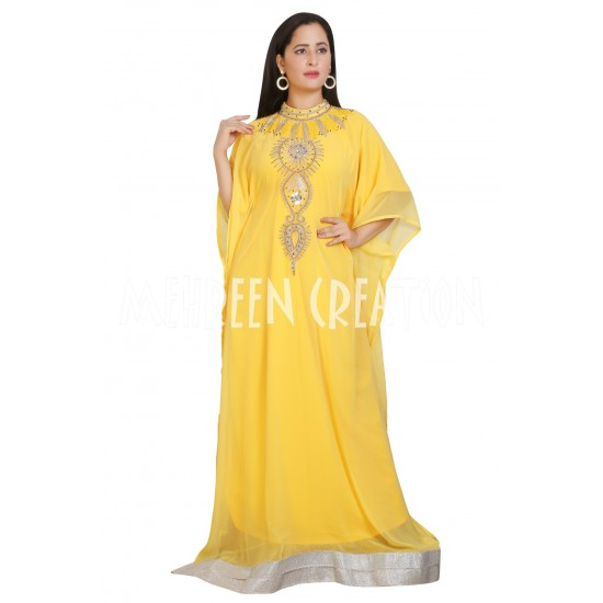 YELLOW MOROCCAN ISLAMIC ZARI WORK KAFTAN 3/4 SLEEVE FARASHA DRESS.