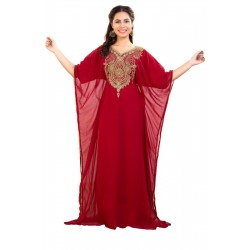 DUBAI MOROCCAN KAFTAN FARASHA ABAYA MAXI BRIDAL MODERN HALF SLEEVE MAROON ZARI WORK DRESS FLOOR LENGTH