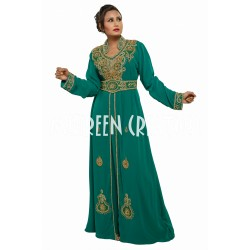2020 MODERN GREEN BRIDAL MOROCCAN ISLAMIC KAFTAN DRESS