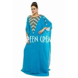 BLUE BEAUTIFUL ARABIC MOROCCAN MUSLIM ISLAMIC CAFTAN FARASHA DRESS