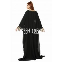 2020 NEW MOROCCAN BLACK MODERN BRIDAL KAFTAN FARASHA DRESS