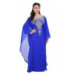 2020 MOROCCAN ROYAL BLUE KAFTAN BELL SLEEVE MODERN DRESS