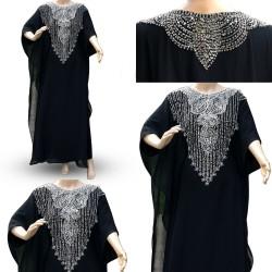 Black Traditional Kaftan Farasha Half Sleeve Maxi Dress