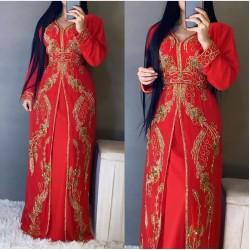 Dubai Moroccan Kaftan Arabic Islamic Modern Bridal Floor Length Long sleeve Hand Zari Work Dress Party Wear