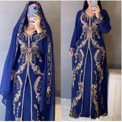 Stylish Royal Moroccan Kaftan Arabic Islamic Modern Bridal Floor Length Long sleeve Hand Zari Work Dress Party Wear