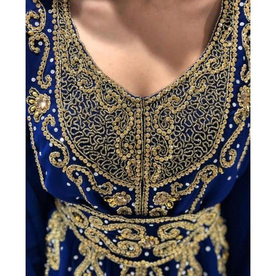 Fancy Moroccan Royal Kaftan Arabic Islamic Modern Bridal Floor Length Long sleeve Hand Zari Work Dress Party Wear