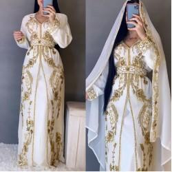 Royal Moroccan Kaftan Arabic Islamic Modern Bridal Floor Length Long sleeve Hand Zari Work Dress Party Wear