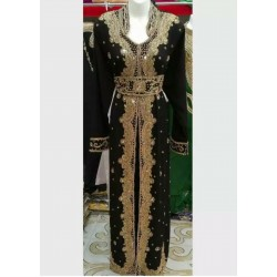 DUBAI MOROCCAN Black KAFTAN CAFTAN Wedding Gown Floor Length Dress