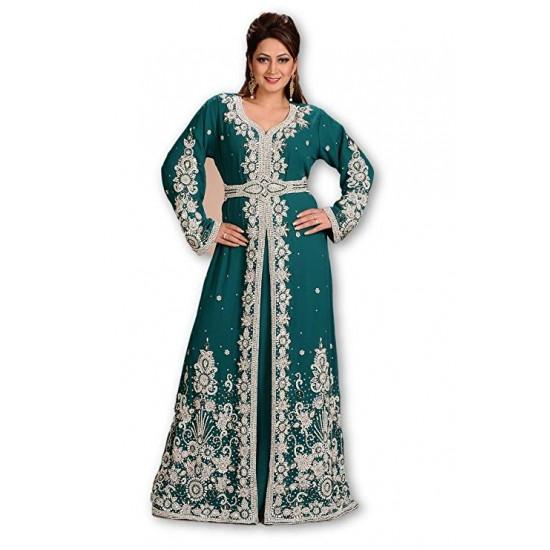 DUBAI MOROCCAN KAFTAN HAND ZARI WORK WEDDING GOWN MAXI GREEN ETHNIC DRESS