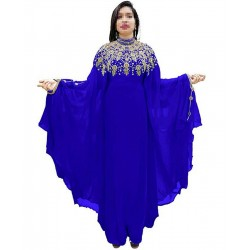 DUBAI MOROCCAN MULTI COLOR CASUAL HAND EMBROIDERY FARASHA DRESS