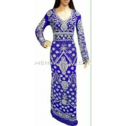 MOROCCAN KAFTAN AFRICAN MAXI ROYAL BLUE FULL SLEEVE DRESS