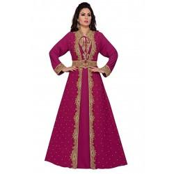 BEAUTIFUL MODERN ARABIC MOROCCAN MAGENTA HAND ZARI WORK KAFTAN DRESS