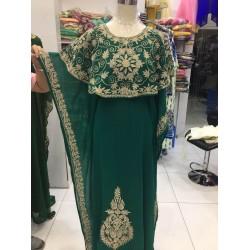 BOTTLE GREEN MOROCCAN KAFTAN KHALEEJI TAKSHITA VAR DRESS