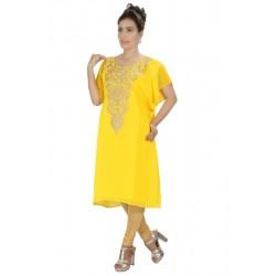 YELLOW MODERN KURTI ARABIAN EXCLUSIVE DRESS