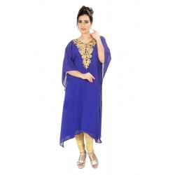 BLUE MODERN KURTI ABAYA FANCY GEORGETTE DRESS