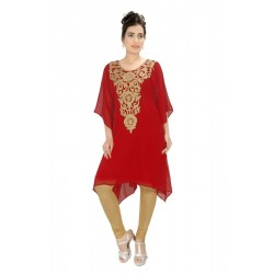 MEHREEN CREATION KURTI GEORGETTE ETHNIC RED COLOR