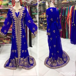 ROYAL BLUE MOROCCAN KAFTAN ARABIAN MACHINE EMBRODIERY DRESS