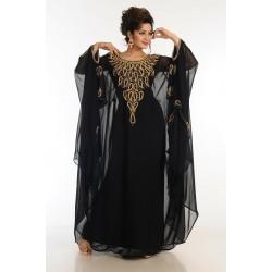 BLACK WORK MOROCCAN KAFTAN FARASHA DRESS