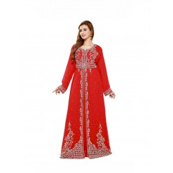 DUBAI BRIDAL RED MOROCCAN KAFTAN DRESS FOR WOMEN