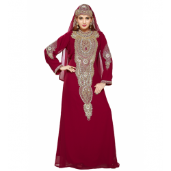 DUBAI MOROCCAN KAFTAN MAROON WEDDING GOWN TAKSHITA DRESS