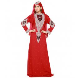 RED MOROCCAN ISLAMIC PARTY WEAR MODERN DRESS